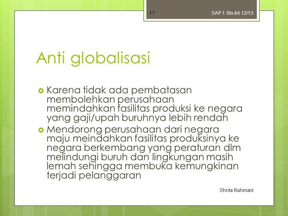 SAP 1 Bis Int 12/13 Anti globalisasi.