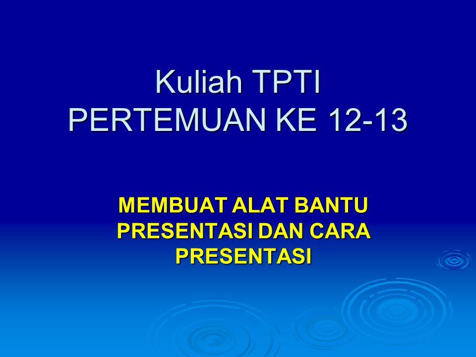 Kuliah TPTI PERTEMUAN KE 12-13