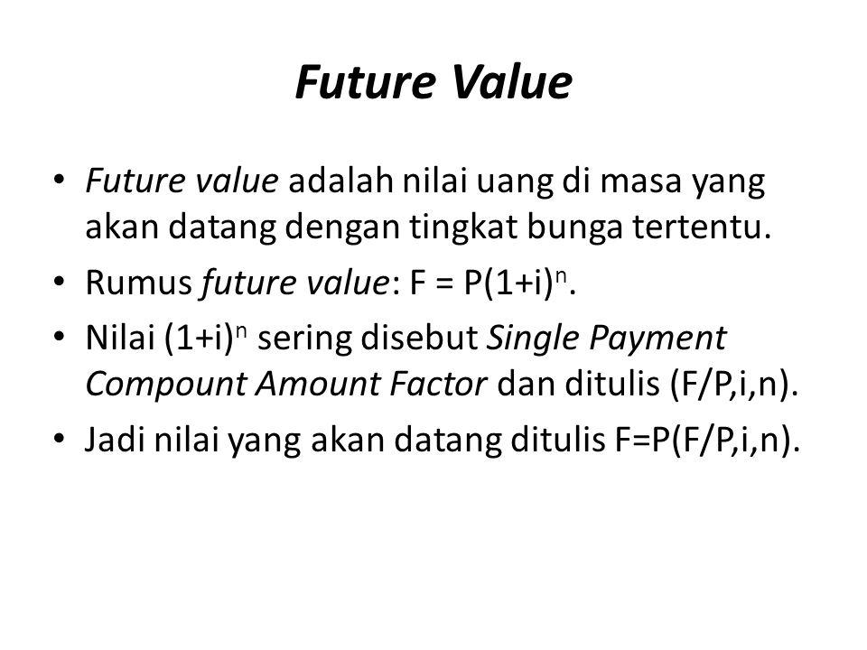 Future Value Future value adalah nilai uang di masa yang akan datang dengan tingkat bunga tertentu.