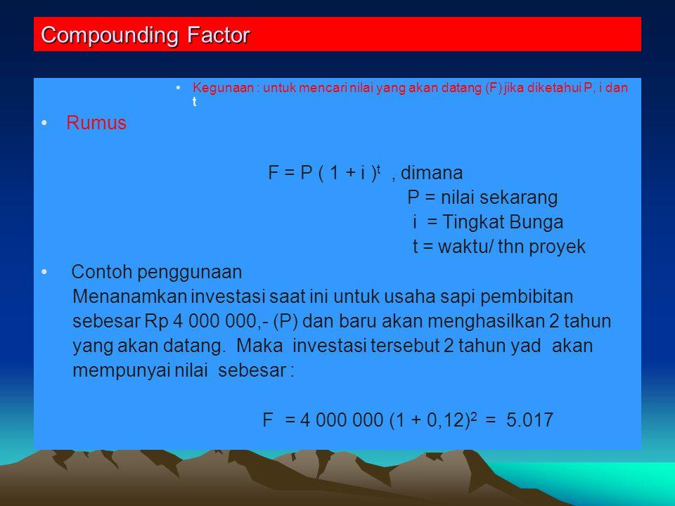 Compounding Factor Rumus F = P ( 1 + i )t , dimana P = nilai sekarang