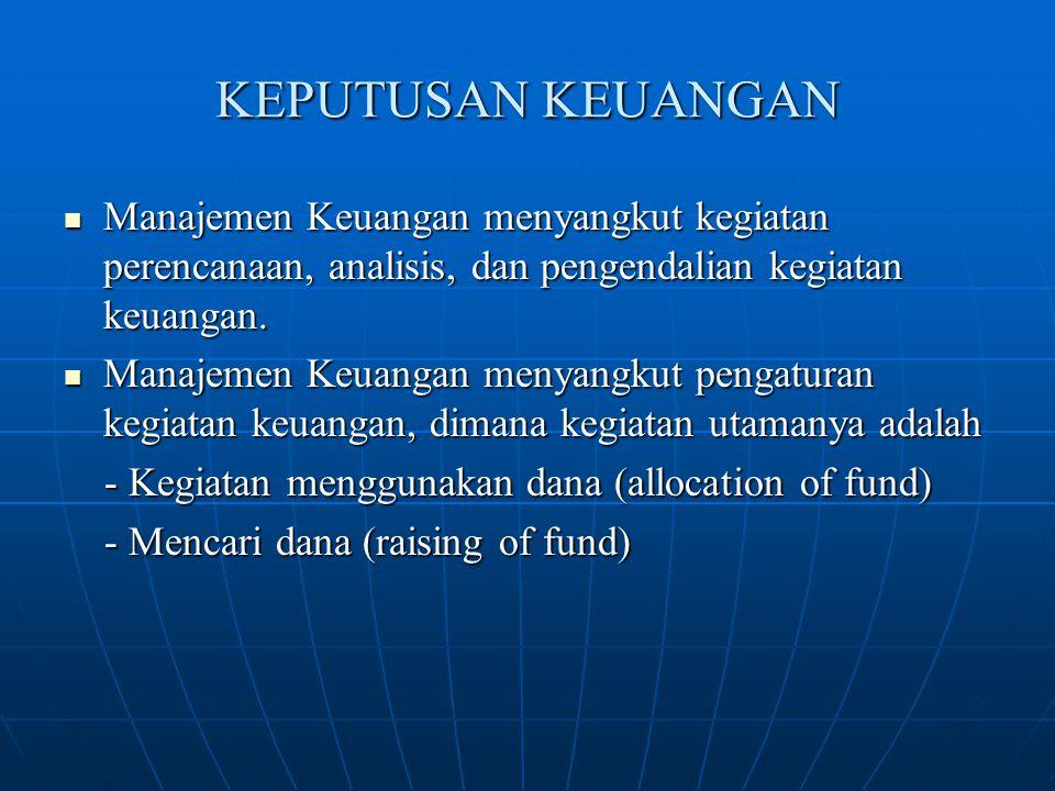KEPUTUSAN KEUANGAN Manajemen Keuangan menyangkut kegiatan perencanaan, analisis, dan pengendalian kegiatan keuangan.