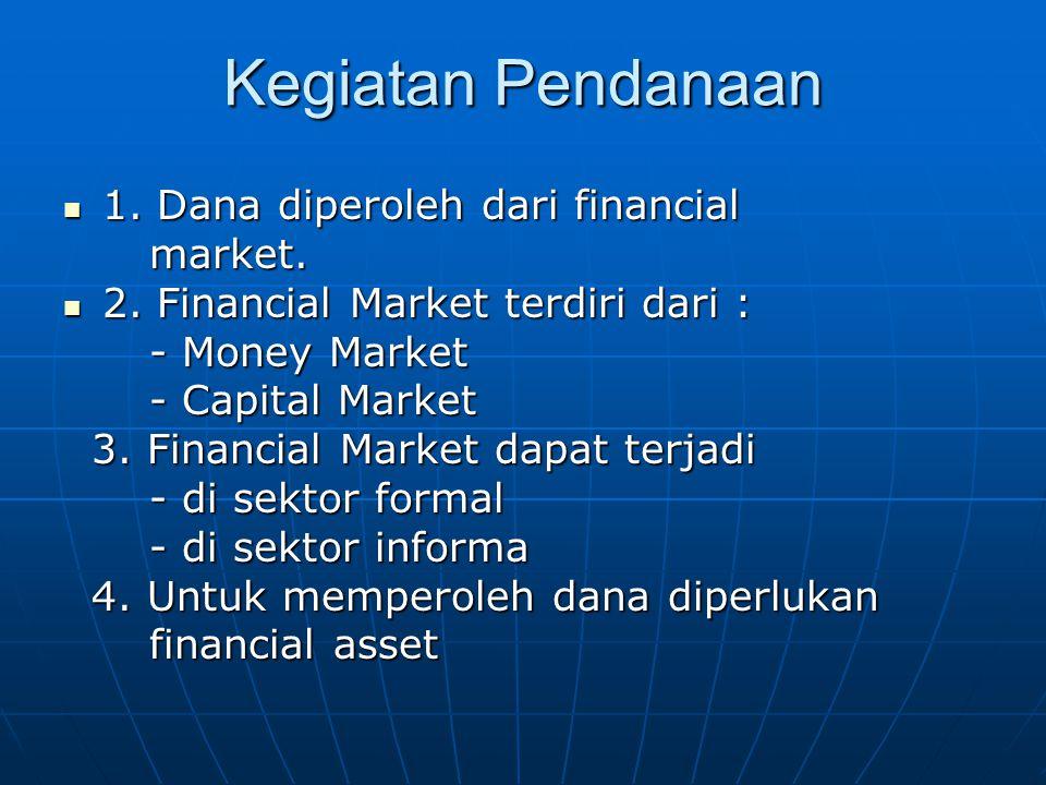 Kegiatan Pendanaan 1. Dana diperoleh dari financial market.