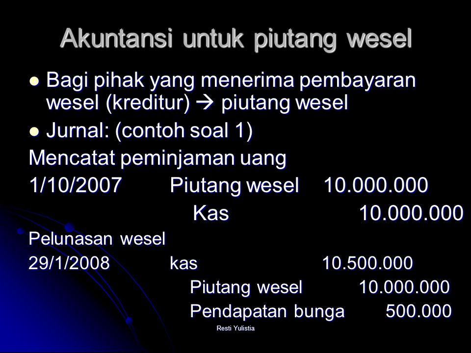 Akuntansi untuk piutang wesel