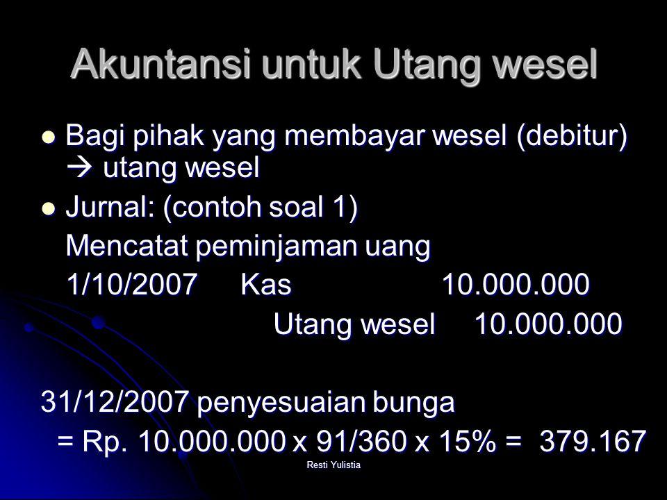 Akuntansi untuk Utang wesel
