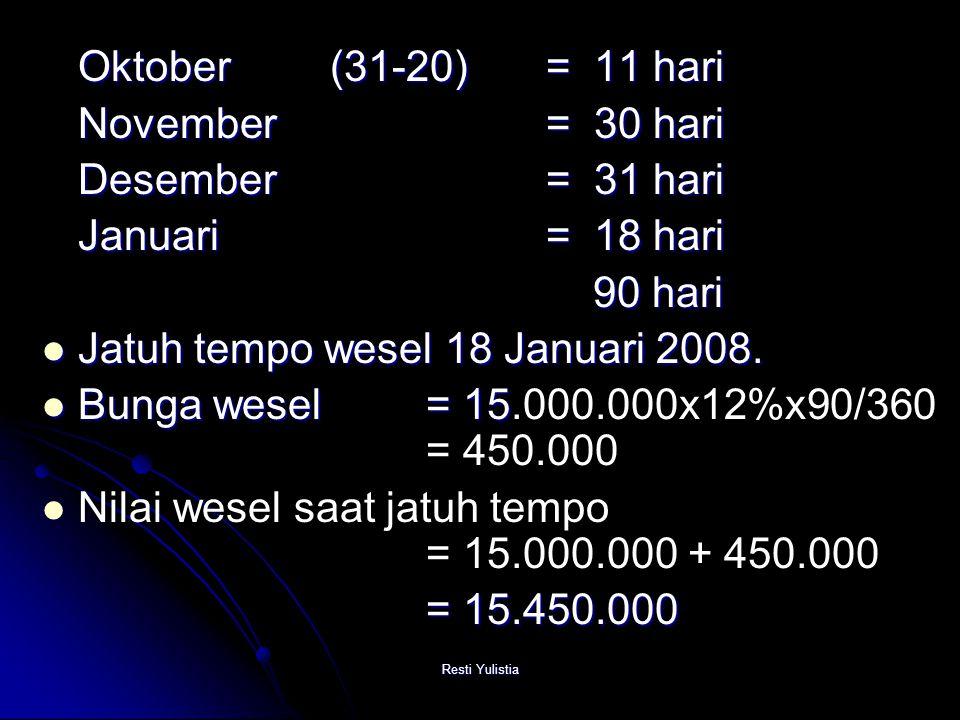 Jatuh tempo wesel 18 Januari 2008.