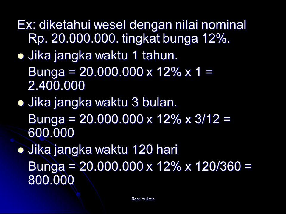 Jika jangka waktu 1 tahun. Bunga = 20.000.000 x 12% x 1 = 2.400.000