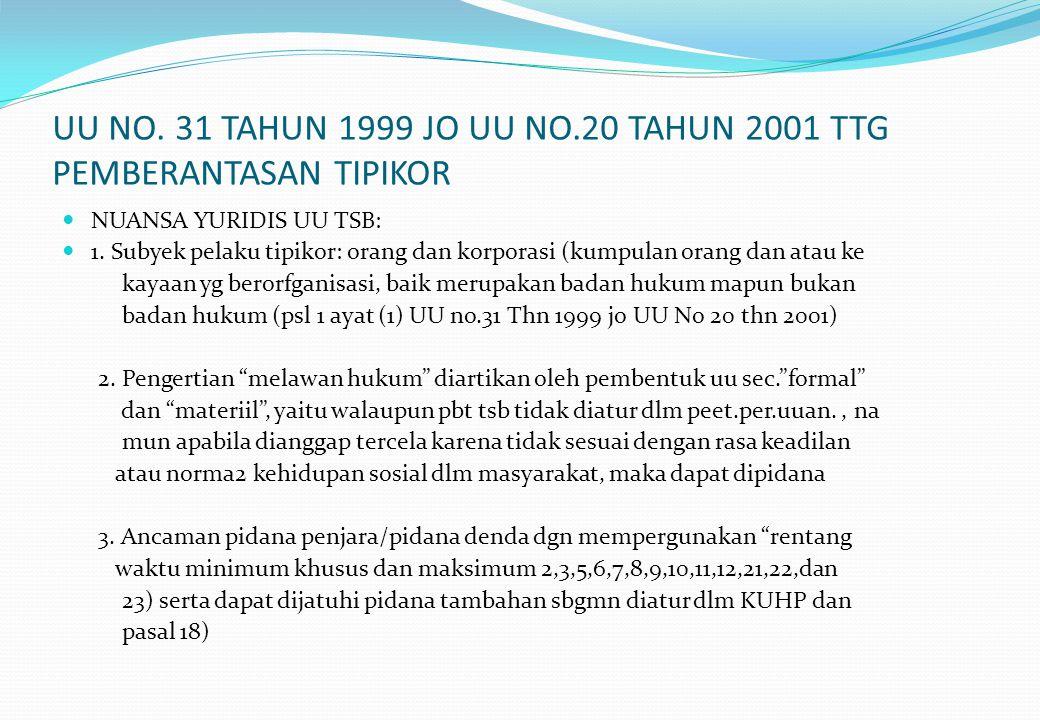 UU NO. 31 TAHUN 1999 JO UU NO.20 TAHUN 2001 TTG PEMBERANTASAN TIPIKOR