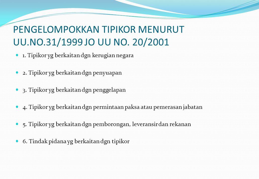 PENGELOMPOKKAN TIPIKOR MENURUT UU.NO.31/1999 JO UU NO. 20/2001