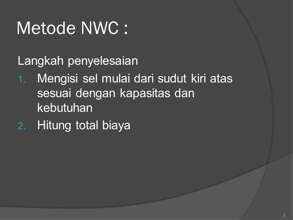Metode NWC : Langkah penyelesaian