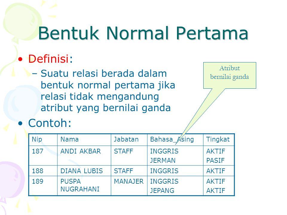 Bentuk Normal Pertama Definisi: Contoh: