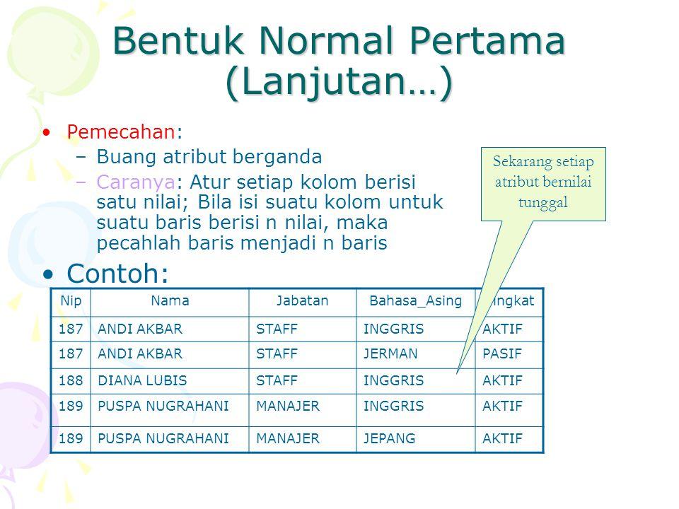 Bentuk Normal Pertama (Lanjutan…)