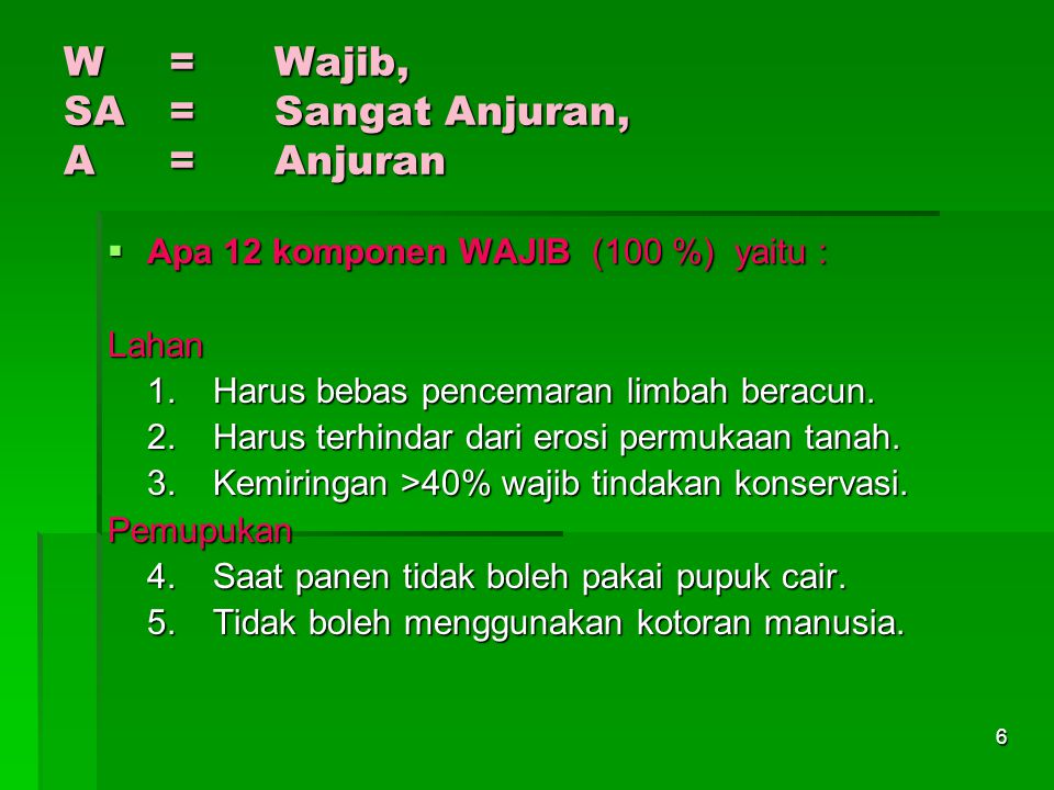 W = Wajib, SA = Sangat Anjuran, A = Anjuran