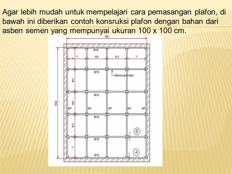 Agar lebih mudah untuk mempelajari cara pemasangan plafon, di bawah ini diberikan contoh konsruksi plafon dengan bahan dari asben semen yang mempunyai ukuran 100 x 100 cm.