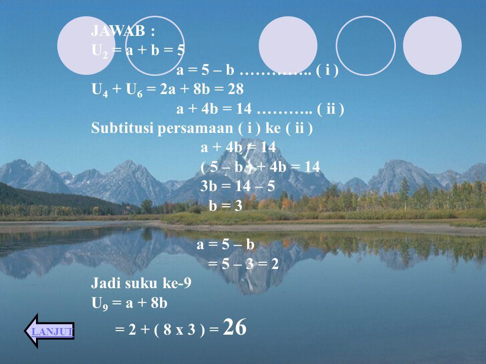 Subtitusi persamaan ( i ) ke ( ii ) a + 4b = 14 ( 5 – b ) + 4b = 14