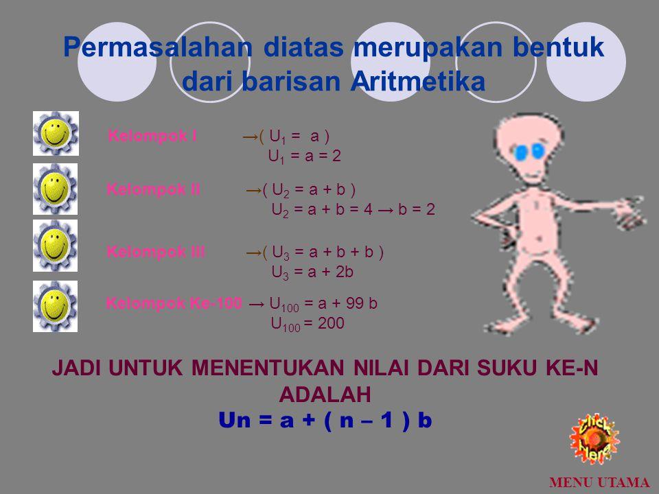 Permasalahan diatas merupakan bentuk dari barisan Aritmetika