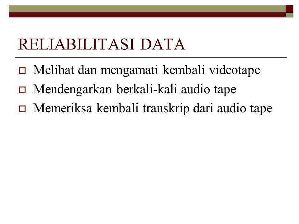 RELIABILITASI DATA Melihat dan mengamati kembali videotape