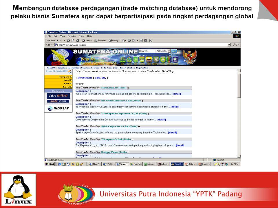 Membangun database perdagangan (trade matching database) untuk mendorong pelaku bisnis Sumatera agar dapat berpartisipasi pada tingkat perdagangan global