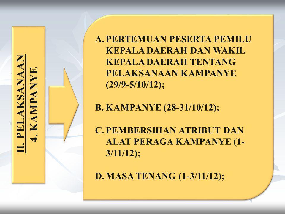 PERTEMUAN PESERTA PEMILU KEPALA DAERAH DAN WAKIL KEPALA DAERAH TENTANG PELAKSANAAN KAMPANYE (29/9-5/10/12);