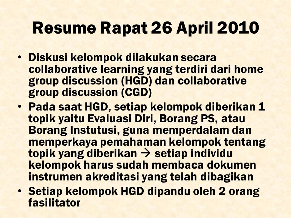 Resume Rapat 26 April 2010
