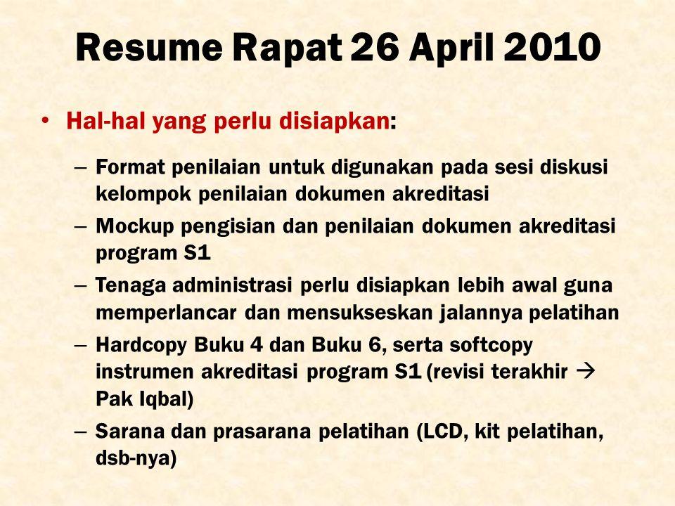 Resume Rapat 26 April 2010 Hal-hal yang perlu disiapkan: