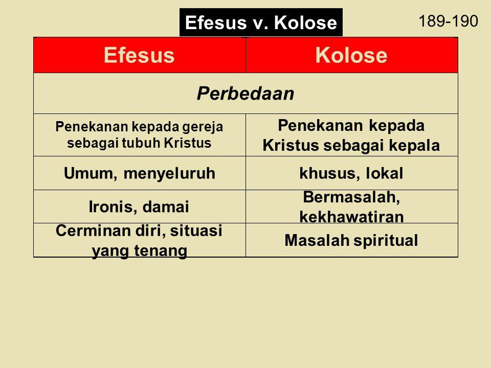 Efesus Kolose Efesus v. Kolose Perbedaan 189-190