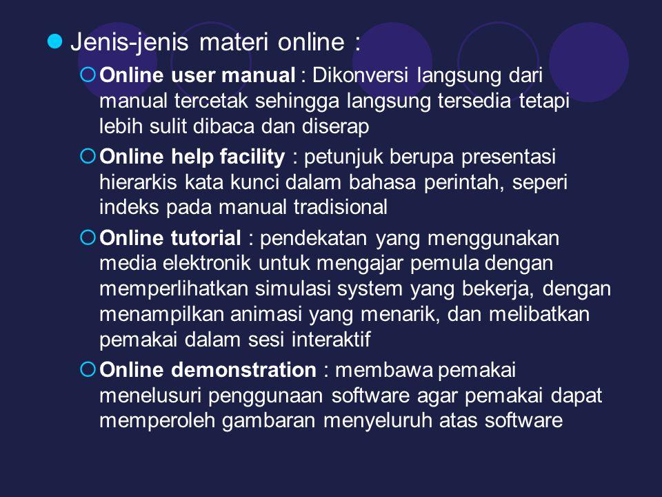 Jenis-jenis materi online :
