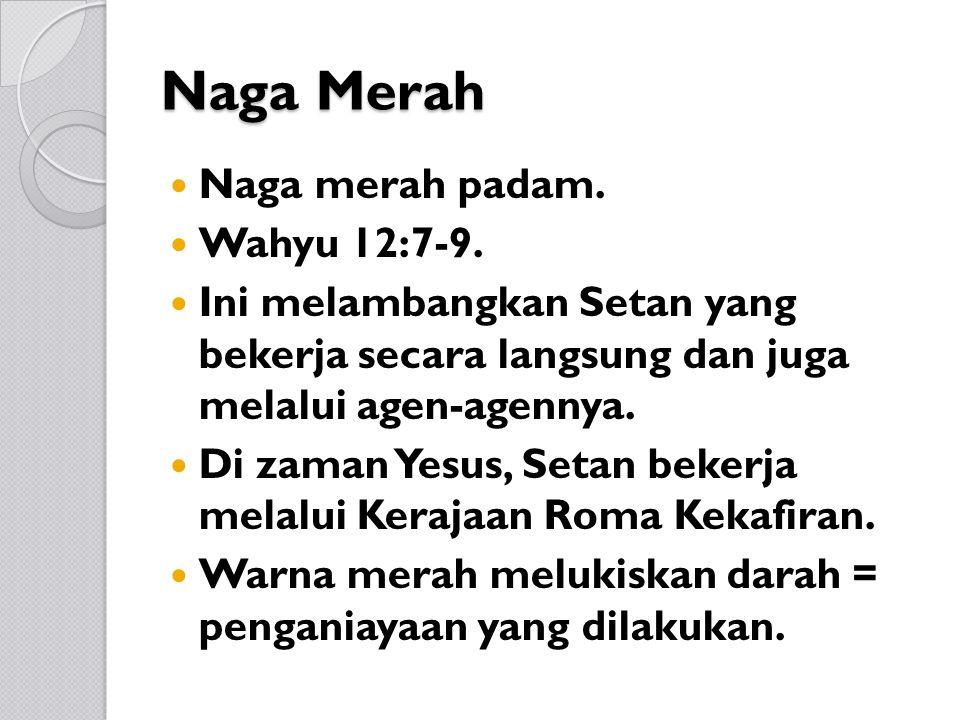 Naga Merah Naga merah padam. Wahyu 12:7-9.