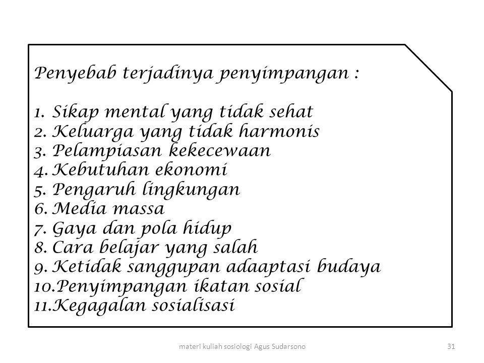 materi kuliah sosiologi Agus Sudarsono