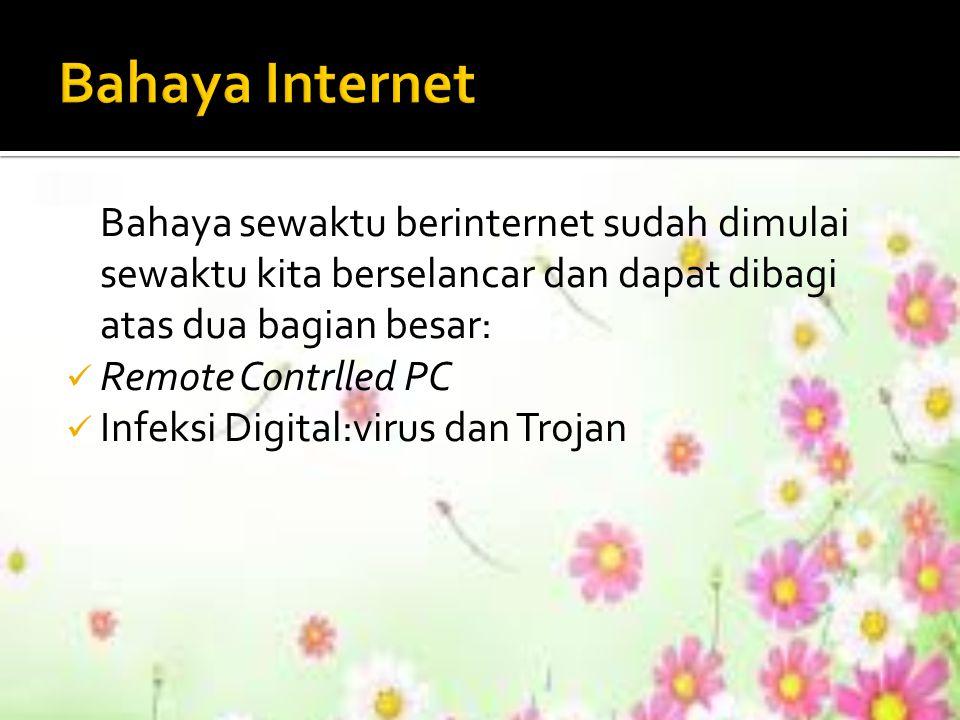 Bahaya Internet Bahaya sewaktu berinternet sudah dimulai sewaktu kita berselancar dan dapat dibagi atas dua bagian besar:
