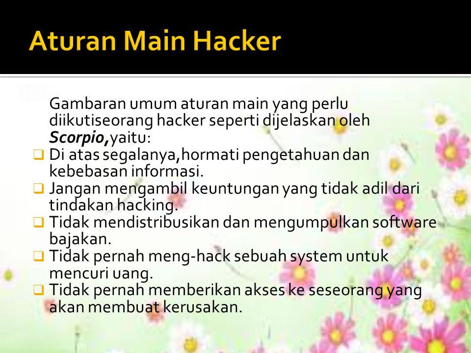 Aturan Main Hacker Gambaran umum aturan main yang perlu diikutiseorang hacker seperti dijelaskan oleh Scorpio,yaitu: