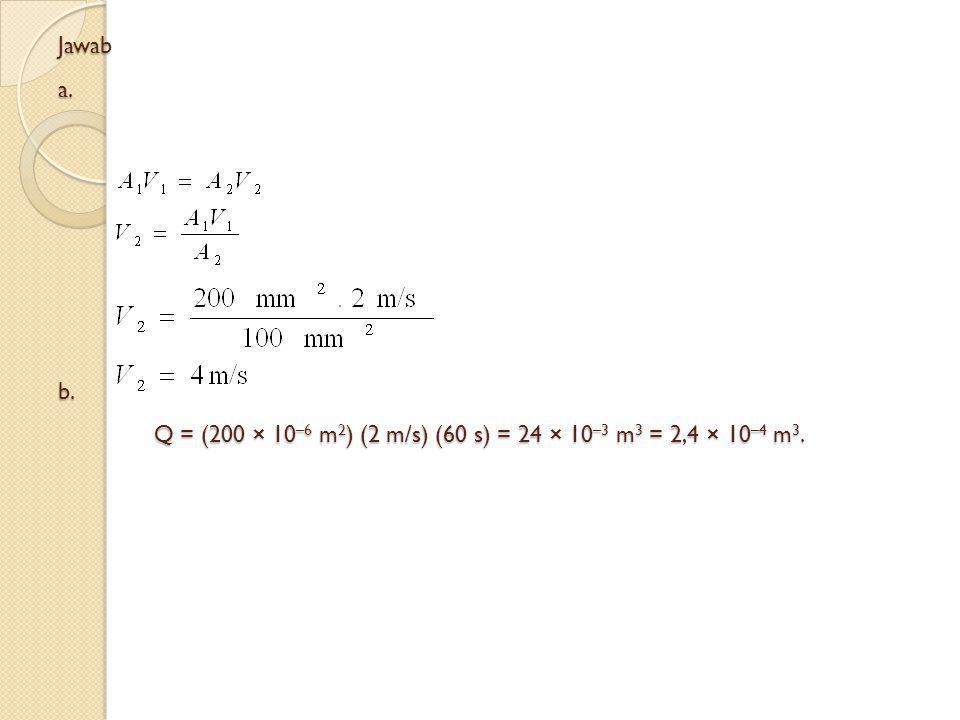 Jawab a. b. Q = (200 × 10–6 m2) (2 m/s) (60 s) = 24 × 10–3 m3 = 2,4 × 10–4 m3.
