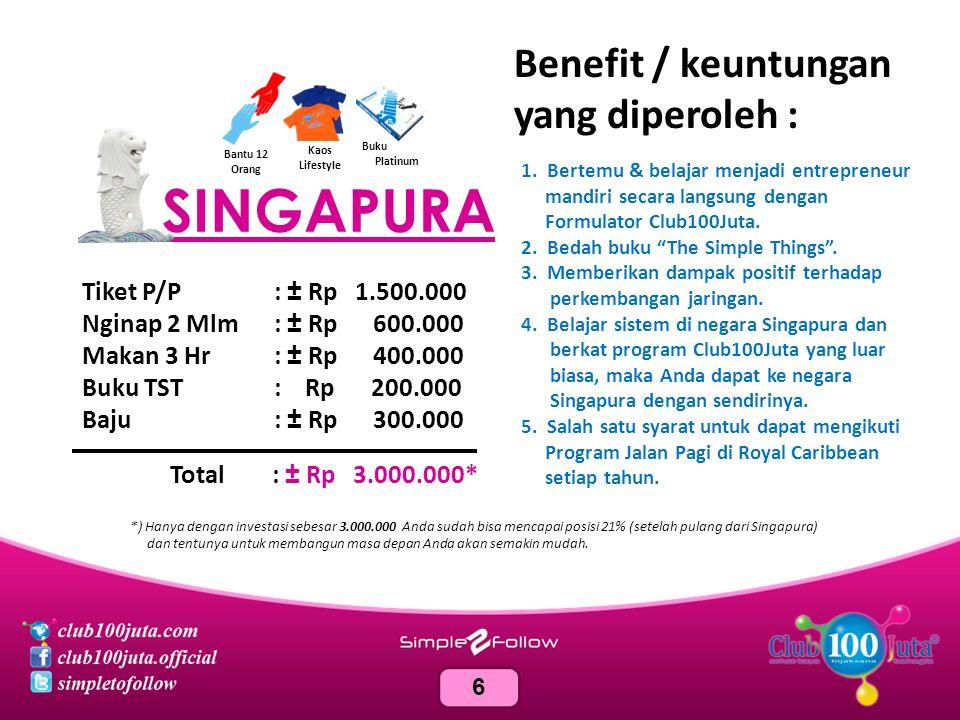 SINGAPURA Benefit / keuntungan yang diperoleh :