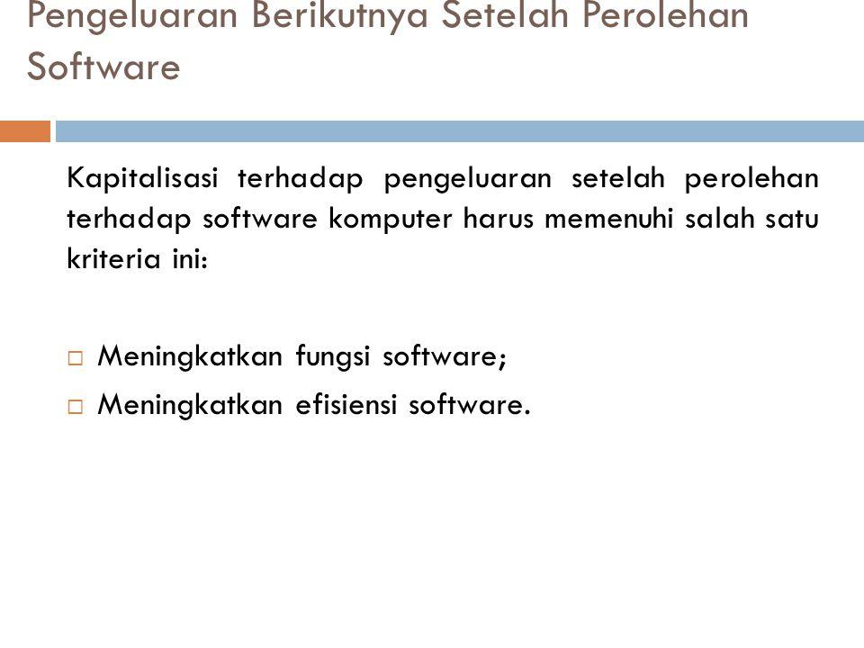 Pengeluaran Berikutnya Setelah Perolehan Software