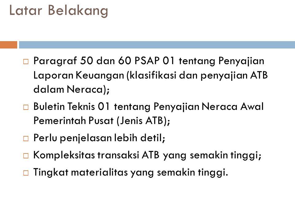 Latar Belakang Paragraf 50 dan 60 PSAP 01 tentang Penyajian Laporan Keuangan (klasifikasi dan penyajian ATB dalam Neraca);