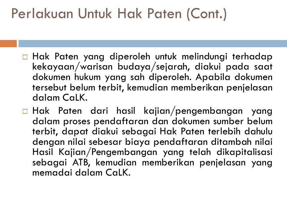 Perlakuan Untuk Hak Paten (Cont.)