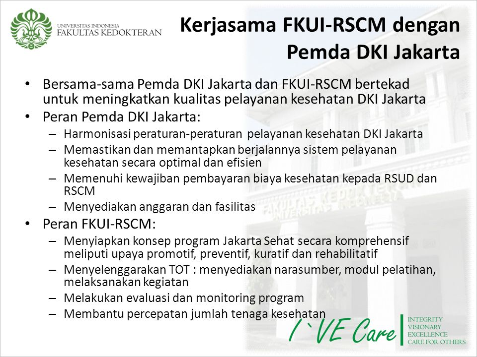 Kerjasama FKUI-RSCM dengan Pemda DKI Jakarta