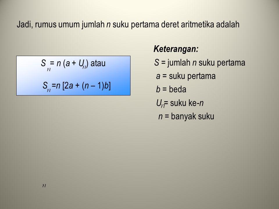 Jadi, rumus umum jumlah n suku pertama deret aritmetika adalah