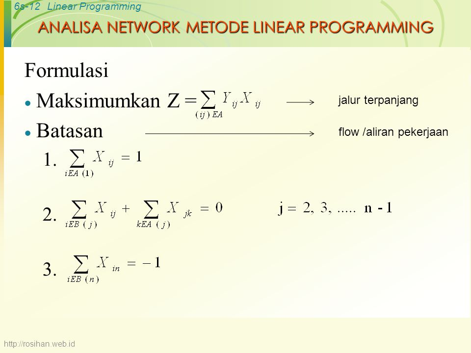 ANALISA NETWORK METODE LINEAR PROGRAMMING