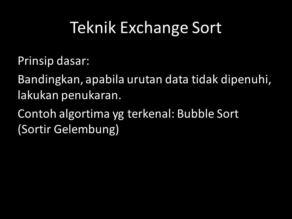 Teknik Exchange Sort