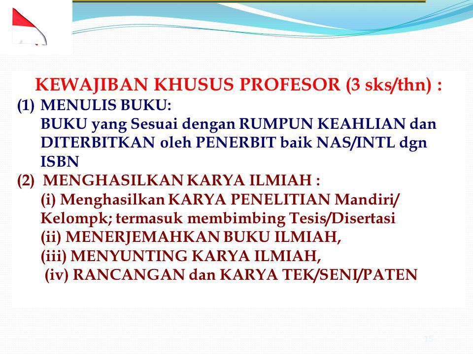 KEWAJIBAN KHUSUS PROFESOR (3 sks/thn) :