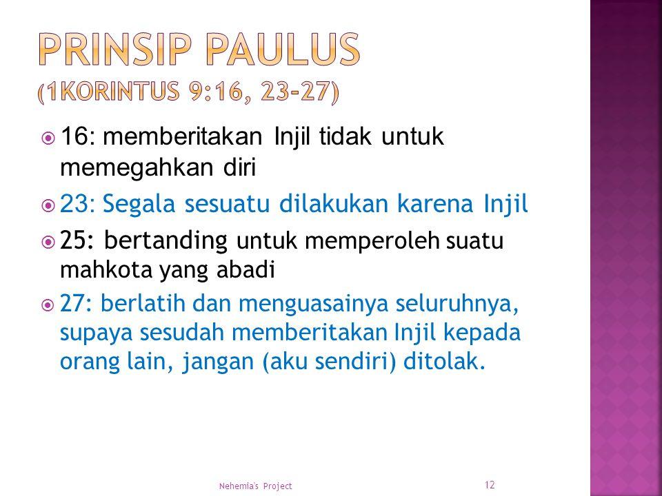 Prinsip Paulus (1Korintus 9:16, 23-27)
