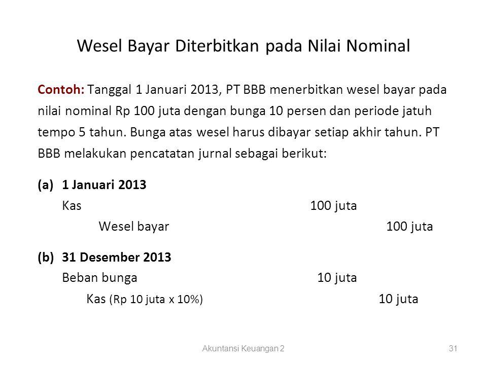 Wesel Bayar Diterbitkan pada Nilai Nominal