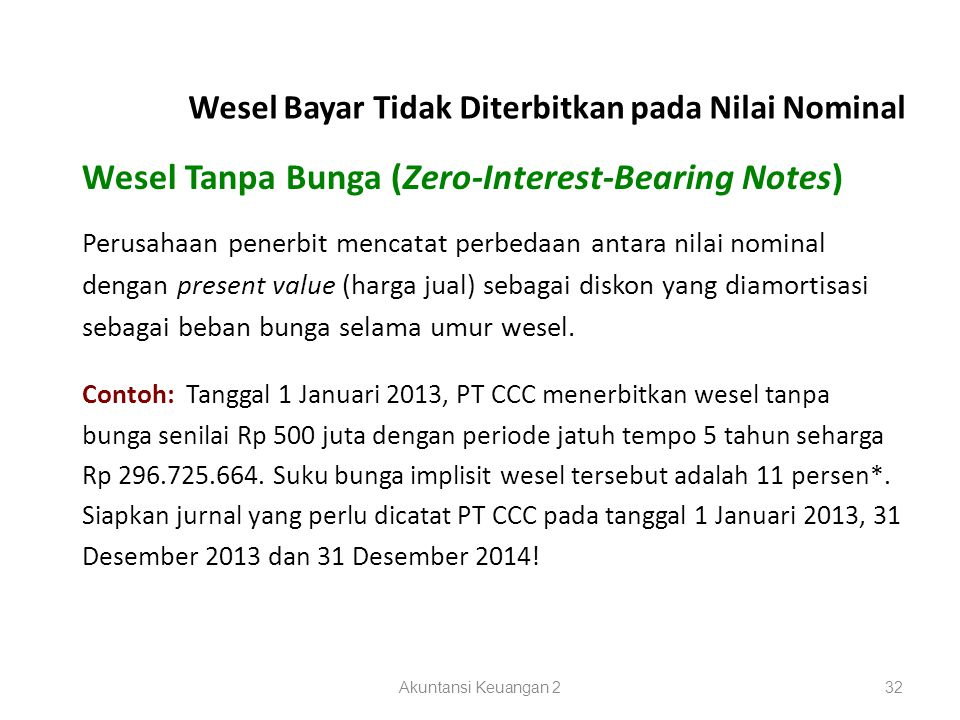 Wesel Tanpa Bunga (Zero-Interest-Bearing Notes)