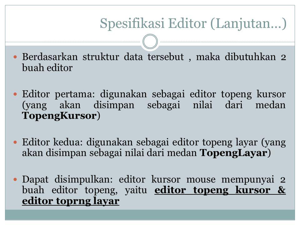 Spesifikasi Editor (Lanjutan…)