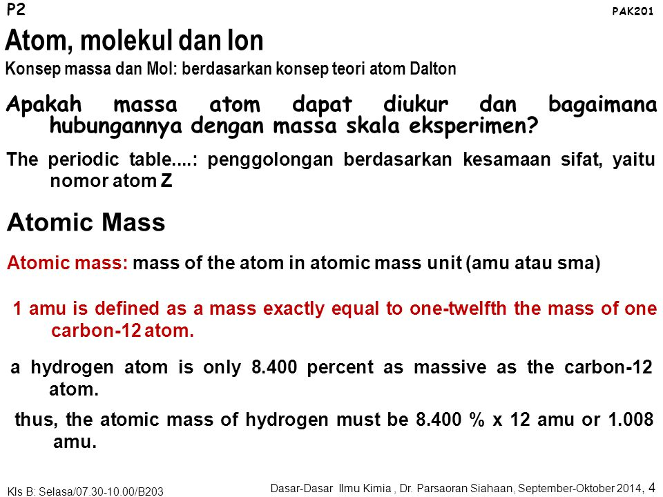 Atom, molekul dan Ion Atomic Mass