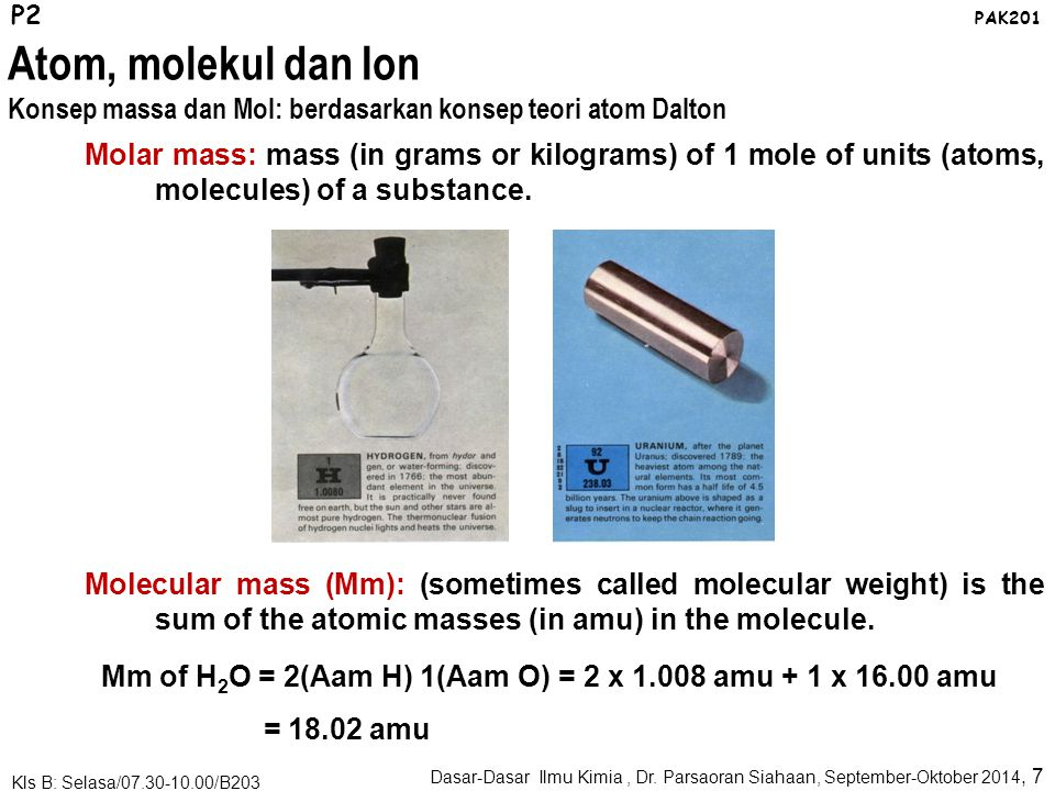 P2 PAK201. Atom, molekul dan Ion. Konsep massa dan Mol: berdasarkan konsep teori atom Dalton.