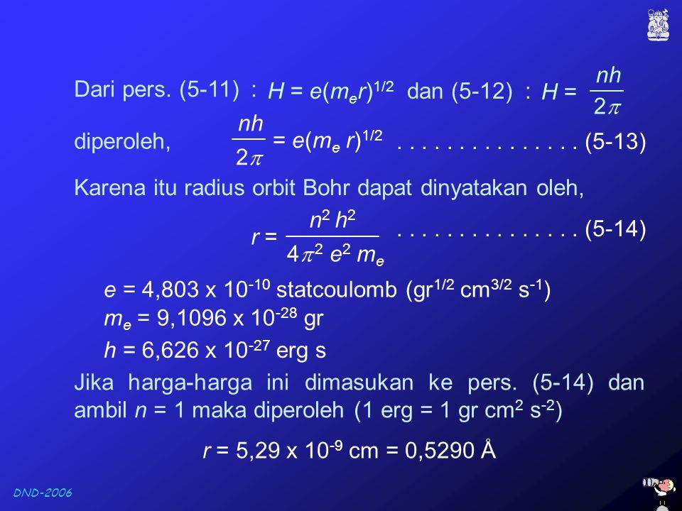 nh 2 H = Dari pers. (5-11) : H = e(mer)1/2. dan (5-12) : nh. 2 = e(me r)1/2. diperoleh,