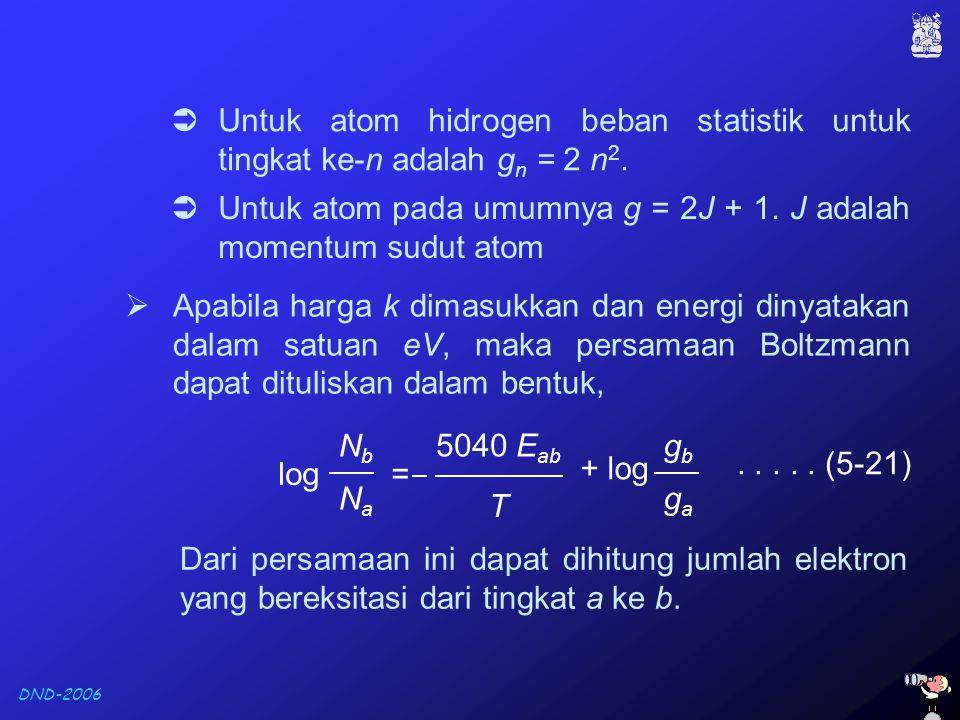 Untuk atom hidrogen beban statistik untuk tingkat ke-n adalah gn = 2 n2.
