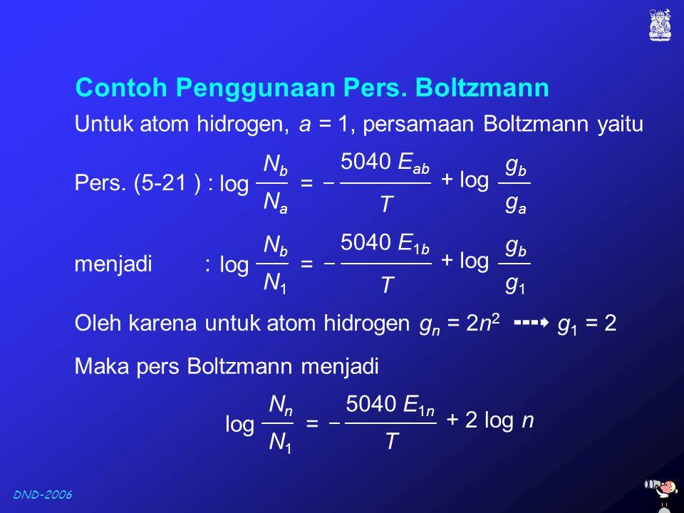Contoh Penggunaan Pers. Boltzmann
