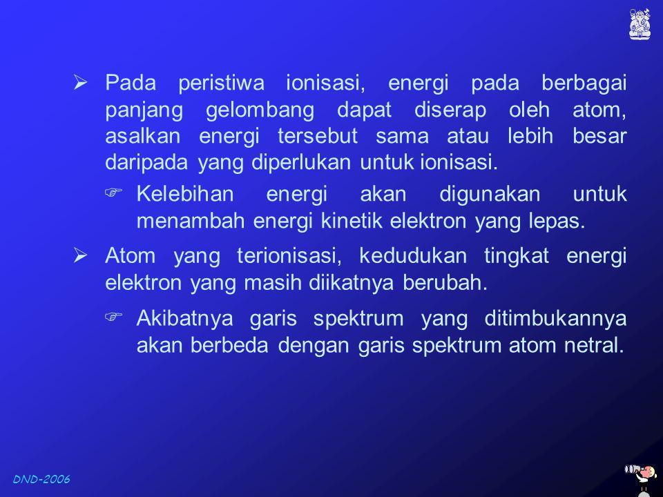Pada peristiwa ionisasi, energi pada berbagai panjang gelombang dapat diserap oleh atom, asalkan energi tersebut sama atau lebih besar daripada yang diperlukan untuk ionisasi.